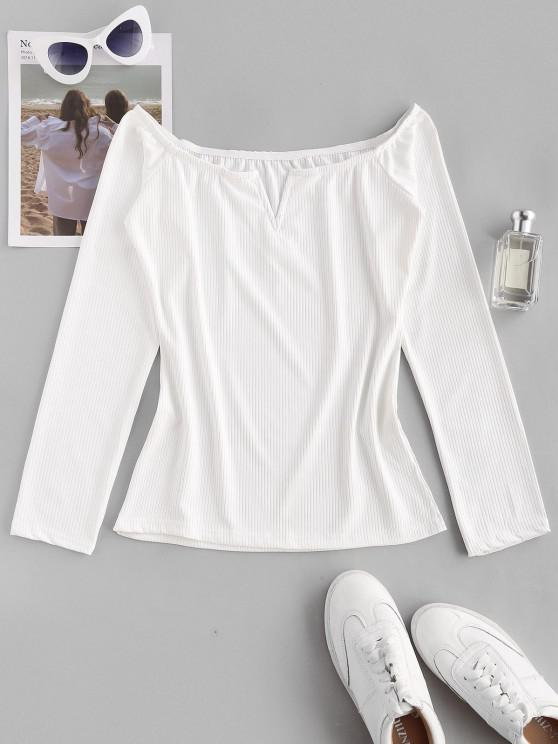 hot Ribbed V-wire Off Shoulder Tee - WHITE L