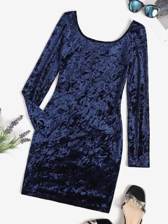 best V Back Velvet Ruched Bodycon Dress - DEEP BLUE L