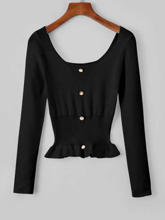 Falschen Knöpfe Schößchen Scoop Kragen Sweatshirt - Schwarz Eine Größe