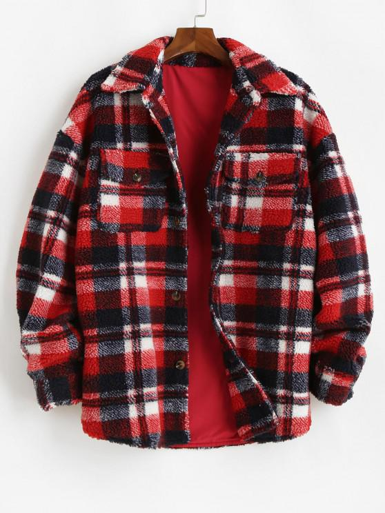 online Plaid Pattern Pocket Button Up Teddy Jacket - RED S