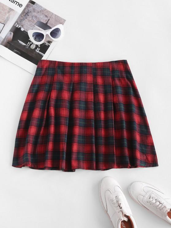 unique Plaid Tartan Kilt Pleated Mini Skirt - RED S