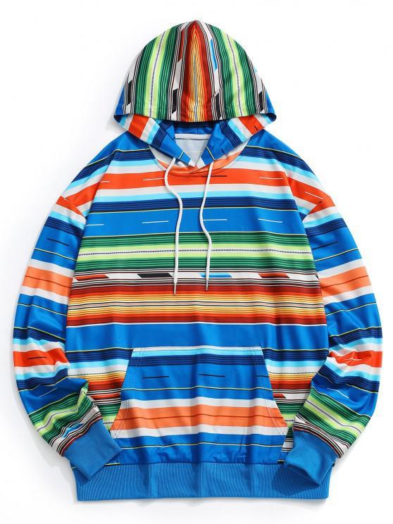 Colorful Striped Drop Shoulder Hoodie - متعدد M