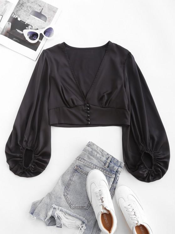 ladies ZAFUL Silky Satin Puff Sleeve Crop Blouse - BLACK M