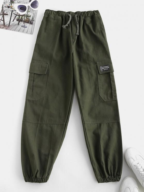 Drawstring Pocket Beam Feet Cargo Pants - ديب غرين M
