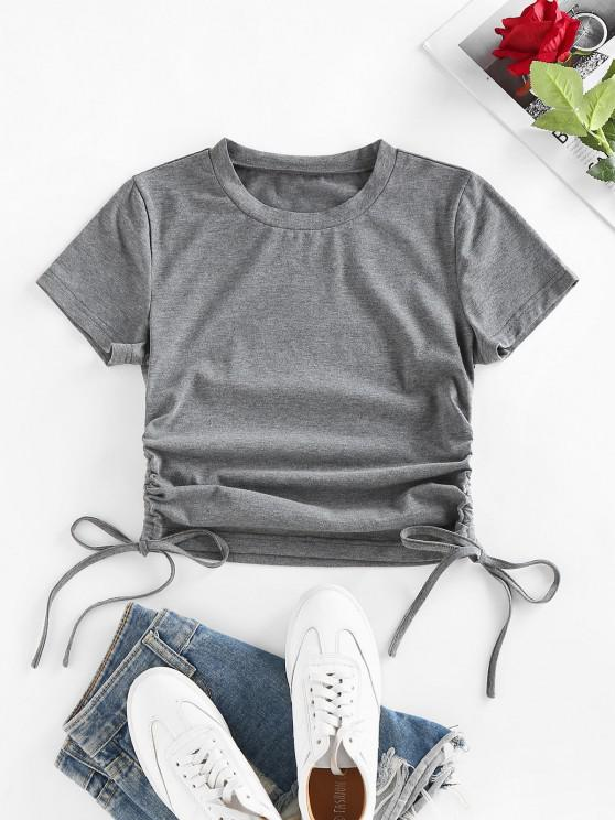 trendy Cinched Side Short Sleeve T Shirt - GRAY S