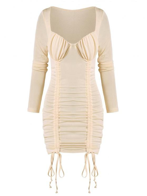unique Cinched Ruched Bust Sheeny Bodycon Dress - APRICOT L