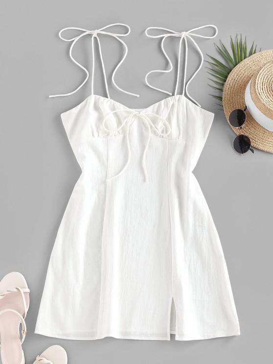 women's ZAFUL Tie Shoulder Bowknot Slit Mini Dress - WHITE S