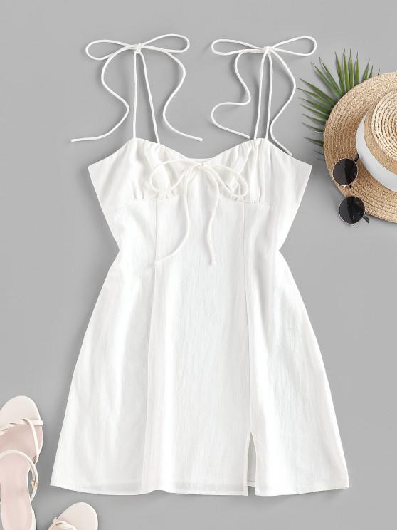 ladies ZAFUL Tie Shoulder Bowknot Slit Mini Dress - WHITE L