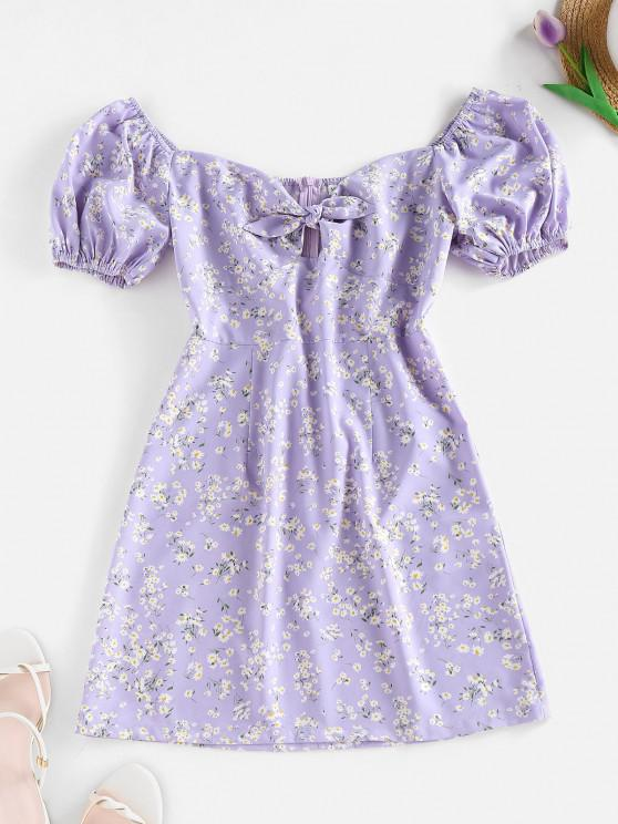 sale ZAFUL Ditsy Floral Puff Sleeve Knot Milkmaid Dress - MAUVE S