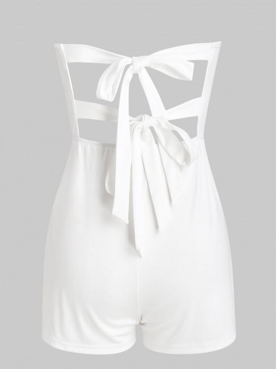 ladies Tie Back Loose Tube Romper - WHITE L