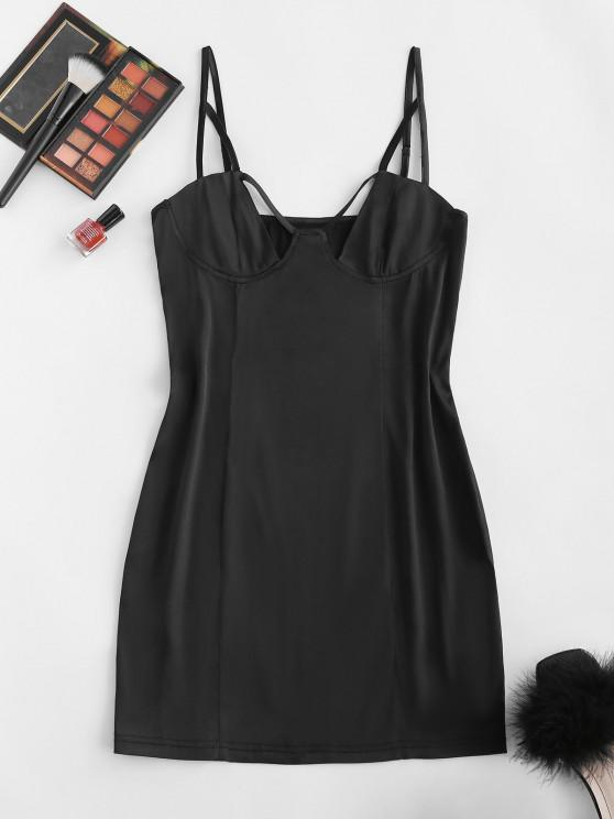 outfits ZAFUL Silky Stain Cutout Slinky Cami Bustier Dress - BLACK S