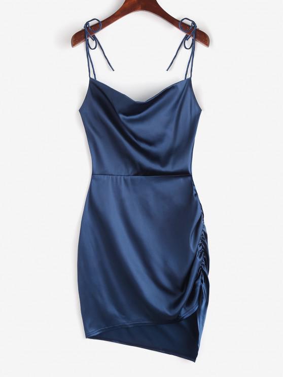 Tie Shoulder Backless Cowl Front Ruched Dress - ازرق غامق L