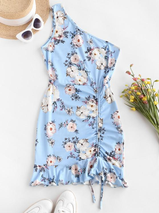 new ZAFUL One Shoulder Floral Slinky Ruffle Cinched Ruched Dress - SKY BLUE L