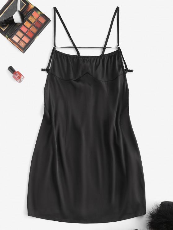 sale ZAFUL Backless Tie Satin Slinky Slip Dress - BLACK M