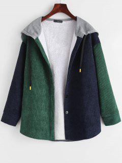 Fleece Lined Colorblock Corduroy Combo Jacket - Deep Green M