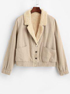 ZAFUL Pockets Teddy Lined Jacket - Apricot S