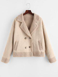 ZAFUL Teddy Lined Double Breasted Suede Coat - Apricot M