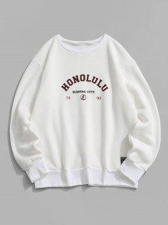 Fleece Lined Letter Print Sweatshirt - White Xl