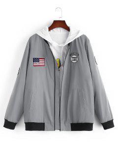 American Flag Embroidered Applique Reflective Padded Jacket - Gray S