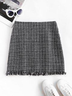 Plaid Frayed Hem Tweed Mini Skirt - Black Xl