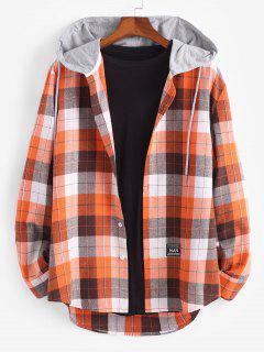 Plaid Print Hooded Applique Detail Shirt - Dark Orange L