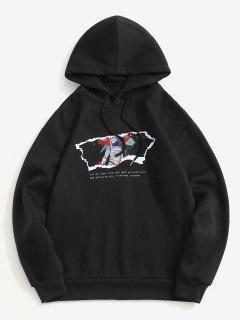 Fleece Lined Slogan Astronaut Print Hoodie - Black Xl