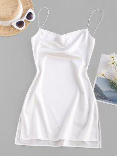 Side Slit Satin A Line Cami Dress - White S
