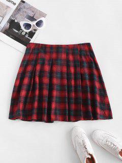 Plaid Tartan Kilt Pleated Mini Skirt - Red S