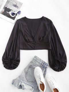 ZAFUL Silky Satin Puff Sleeve Crop Blouse - Black L