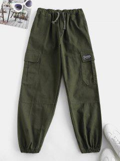 Drawstring Pocket Beam Feet Cargo Pants - Deep Green M