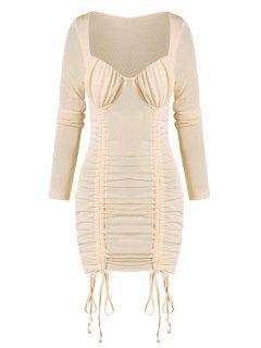 Vestido Cuello Alto Manga Larga Fruncido - Albaricoque L