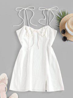 ZAFUL Tie Shoulder Bowknot Slit Mini Dress - White Xl