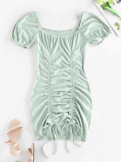 ZAFUL Ribbed Cinched Bodycon Mini Dress - Light Green L