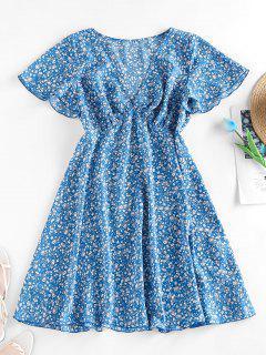 ZAFUL Ditsy Print Flutter Sleeve Plunging Mini Dress - Blue S
