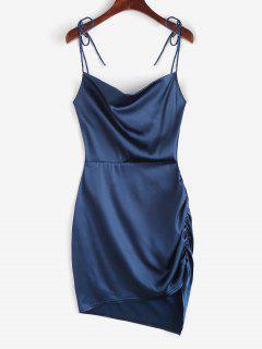 Vestido Fruncido Con Nudo En Espalda Abierta - Azul Profundo S