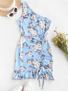 ZAFUL One Shoulder Floral Slinky Ruffle Cinched Ruched Dress - Sky Blue L