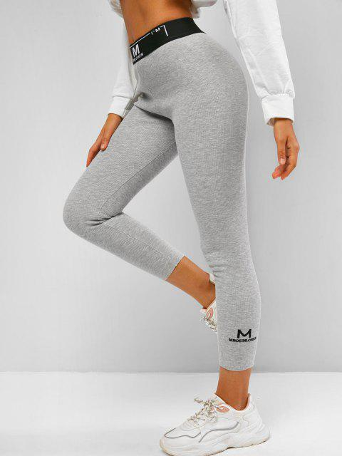 outfit Ribbed Fleece Lined Graphic High Rise Leggings - LIGHT GRAY L Mobile