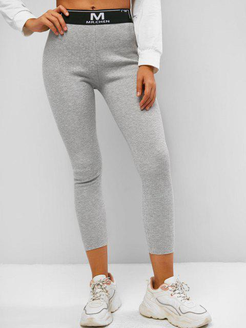 fashion Ribbed Fleece Lined Graphic High Rise Leggings - LIGHT GRAY M Mobile