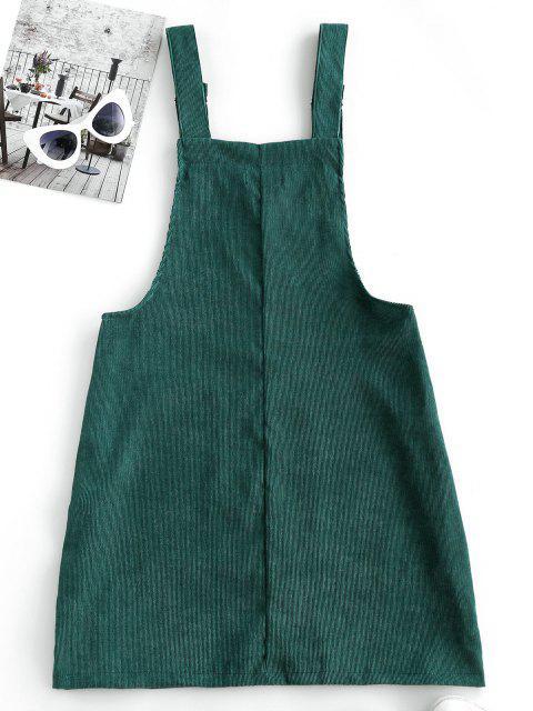chic Corduroy Color Blocking Pocket Pinafore Dress - DEEP GREEN L Mobile