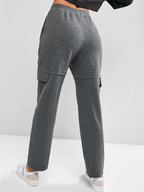women's ZAFUL Quilted Flap Detail Bowknot Straight Pants - CARBON GRAY L Mobile
