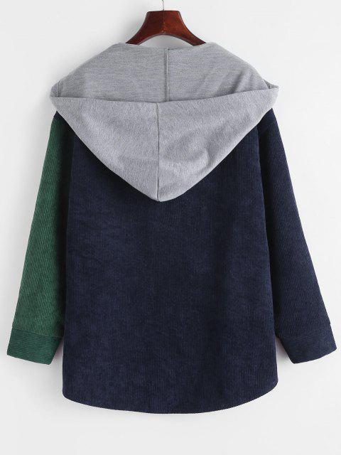 Fleece Lined Colorblock Corduroy Combo Jacket - ديب غرين S Mobile