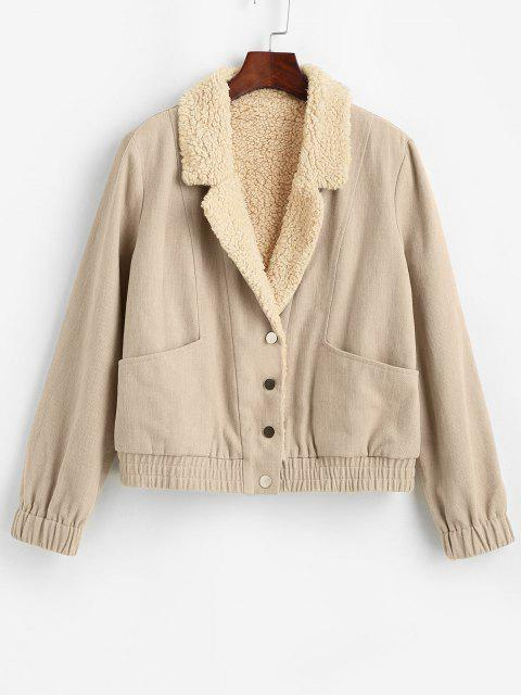 ZAFUL Pockets Teddy Lined Jacket - مشمش S Mobile