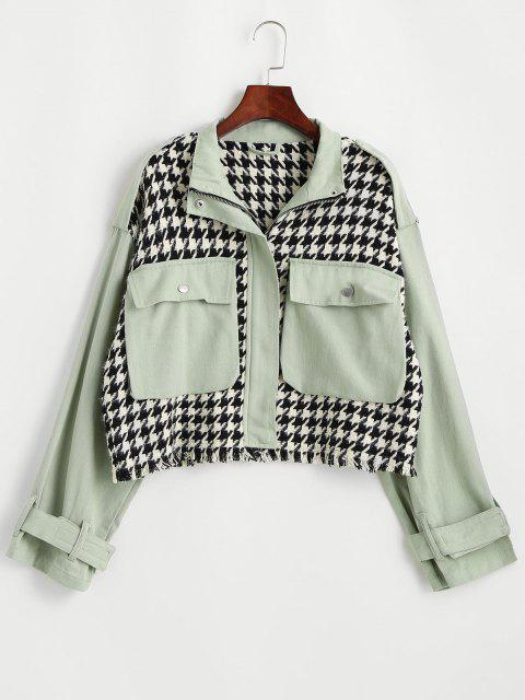 Chaqueta Tweed Panel Bolsillo Pecho Sencillo - Verde claro M Mobile