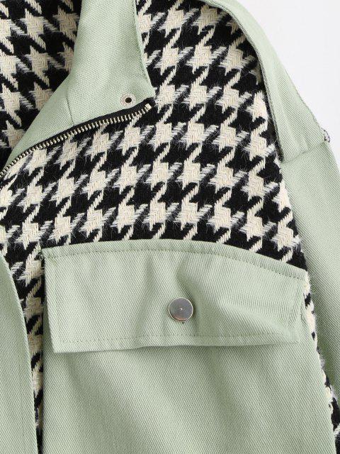 Chaqueta Tweed Panel Bolsillo Pecho Sencillo - Verde claro L Mobile