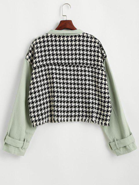 sale Flap Pocket Houndstooth Twill Panel Tweed Jacket - LIGHT GREEN S Mobile