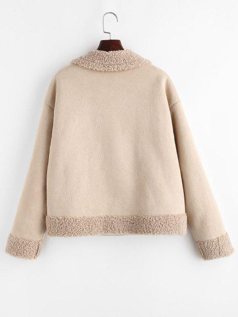 ZAFUL Teddy Lined Double Breasted Suede Coat - مشمش S Mobile