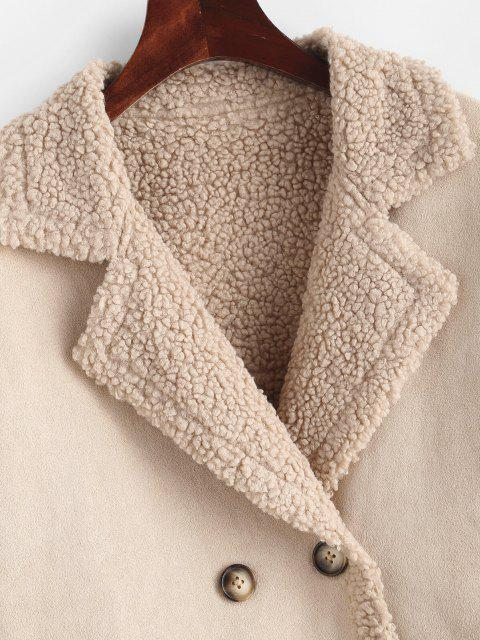 womens ZAFUL Teddy Lined Double Breasted Suede Coat - APRICOT M Mobile