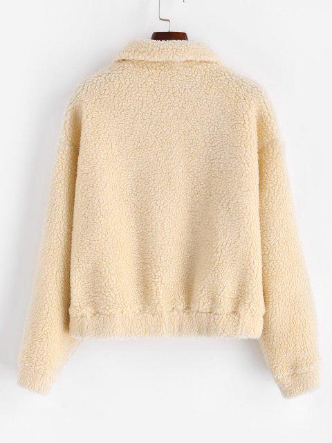 Drop Shoulder Snap Button Teddy Coat - مشمش S Mobile