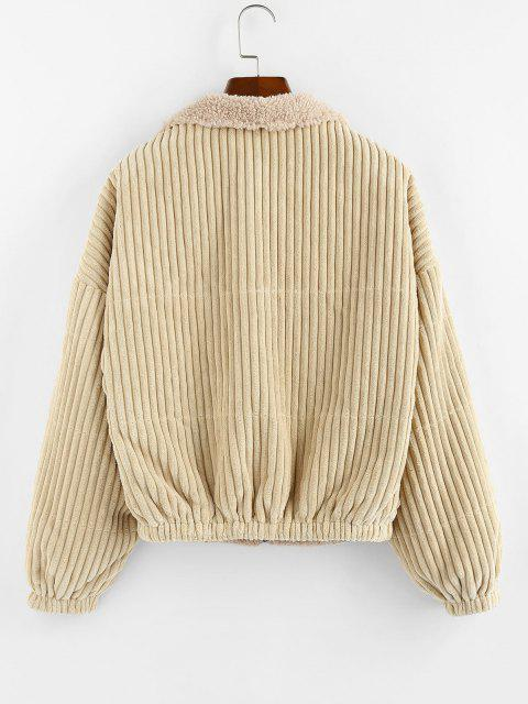 ZAFUL Reversible Corduroy Drop Shoulder Teddy Jacket - ضوء الكاكي L Mobile