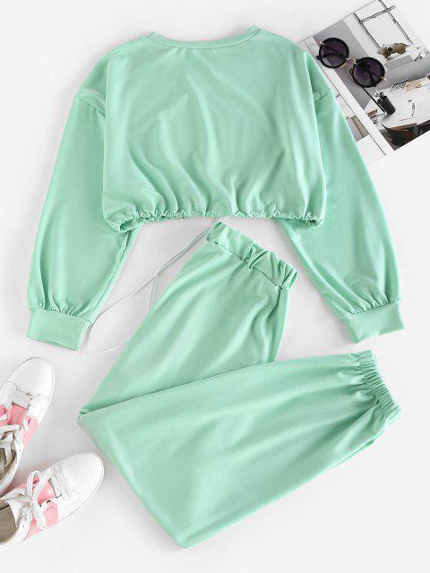 fashion ZAFUL Letter Drop Shoulder Toggle Drawstring Joggers Set - LIGHT GREEN M Mobile